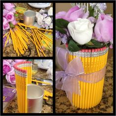 I finally made this pencil vase with flower pens inside for my daughters teacher. For her grade teacher. It only cost me 7 dollars to make. I already had everything except the pencils and pens. I used a baby formula can to stick the pencils on. Baby Formula Containers, Baby Formula Cans, Baby Food Containers, Tin Can Crafts, Easy Crafts, Crafts For Kids, Baby Jars, Baby Food Jars, Mason Jar Gifts