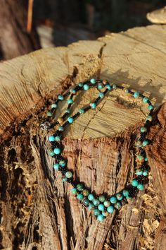 Kingman Turquoise Rounds with Black Seed Beads by NativeAmericanBling on Etsy