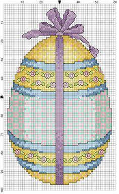 Yellow Easter Egg 2 of 2 Blackwork Cross Stitch, Beaded Cross Stitch, Cross Stitching, Cross Stitch Embroidery, Embroidery Patterns, Bead Loom Patterns, Cross Stitch Patterns, Cupcake Cross Stitch, Easter Cross