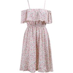 Pink Spaghetti Strap Ruffle Floral Dress (€14) ❤ liked on Polyvore featuring dresses, multicolor, sleeveless shift dress, long dresses, floral cocktail dress, flower print dress y floral print dress