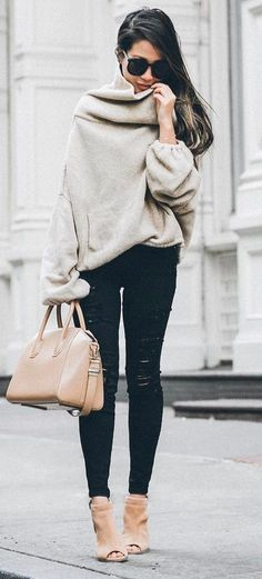 cozy+fall+outfit+/+nude+sweater+++bag+++heels+++rips