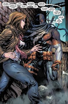 Deviant Art colorization of Lois Lane meets Slade Wilson in the dark alley! Surely it will turn out alright. Art by Tyler Kirkham Comic Book Characters, Comic Character, Comic Books Art, Comic Art, Dc Deathstroke, Deathstroke The Terminator, Sabretooth Marvel, Deathstroke Cosplay, Wolverine