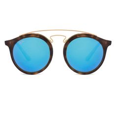 0f474f0cf18c Ray-Ban Golden Tortoise Frame With Sky Blue Mirror Women s Round Sunglasses