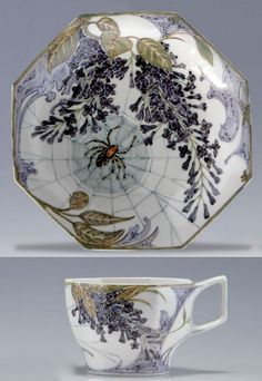 Rozenburg cup and saucer decorated by Samuel Schellink, 1910-1914, lilac branches and spiderwebs.