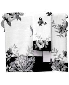 """Lenox Bath Accessories, Moonlit Garden 11"""" x 18"""" Fingertip Towel - White"""