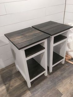 Ana White   Bedside End Tables - DIY Projects Farmhouse style planked wood