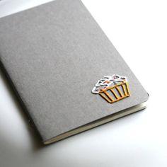 Cupcake hand embroidered moleskine pocket notebook by PoppyandFern, $14.00