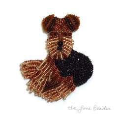 Beaded Airedale Welsh Terrier bead embroidery etsy beadwork artist dog jewelry pendant Vanderpump dogs