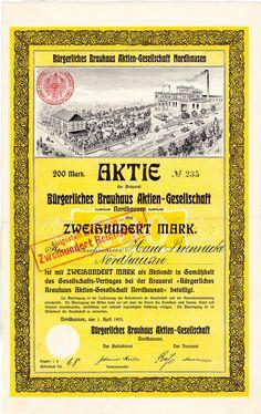 Bürgerliches Brauhaus Nordhausen, Gründeraktie von 1905 + DEKORATIV + SELTEN!