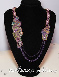 Handmade soutache necklace with natural pearls and amethyst by notturnoindiano