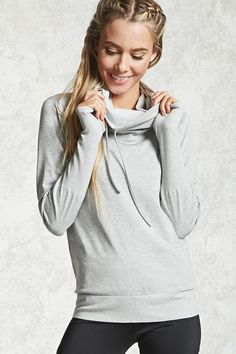 """Forever 21 Active 09 Cowl Neck Hoodie A knit athletic hoodie featuring a dotted """"09""""graphic on the back, cowl neckline with drawstrings, ribbed trim, long sleeves with thumb inserts, and moisture management."""
