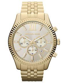 Michael Kors Watch, Mens Chronograph Lexington Gold-Tone Stainless Steel Bracelet 45mm MK8281