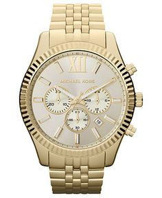 Michael Kors Watch, Mens Chronograph Lexington Gold-Tone Stainless Steel Bracelet 45mm MK8281