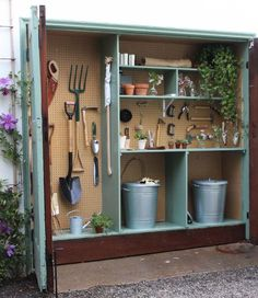 Do you have 18 inches of extra space in your garage? Get your measuring tape and check, because I am telling you this mini garden shed has changed my life. Here's how to make your own: shed design shed diy shed ideas shed organization shed plans Garden Shed Diy, Garden Storage Shed, Storage Shed Plans, Diy Shed, Garden Tools, Small Garden Storage Ideas, Backyard Storage, Tiny Shed Ideas, Small Garden With Shed