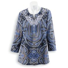 Embroidered Paisley Tunic - Women's Clothing – Casual, Comfortable & Colorful Styles – Plus Sizes