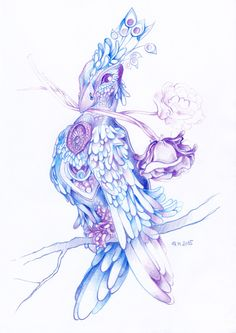 Fantasy bird drawn with colored pencils by #minkulul Find more on DeviantART: http://minkulul.deviantart.com/art/Fantasy-bird-no-2-573969885
