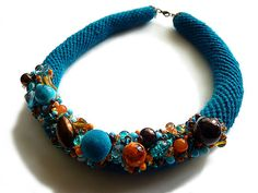 Crochet necklace, turquoise, orange, brown, necklace with beads, collar £45.00