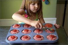 Individual meatloafs in a muffin tin- get the kids involved!      Another tip:  line the cups with plastic wrap and make the mini meat loafs then freeze and pop out, store in zip bags. Then cook how many you need, whenever!  Freezer to table is about 45 minutes!  Just remember to remove the plastic!  I've even done mac n' cheese this way too!!  One muffin tin to cook off both for a meal, just pop the mac muffins in about 15 minutes after the meat loaf mini's.