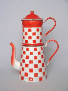 RED & WHITE Check BIG Coffee Pot Biggin from yesterdaysfrance on Ruby Lane