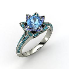 Round Blue Topaz Platinum Ring with Sapphire