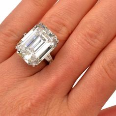 Exceptional Emerald-Cut Diamond Platinum Engagement Ring | From a unique collection of vintage engagement rings at https://www.1stdibs.com/jewelry/rings/engagement-rings/