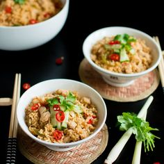 Delicious and quick Thai Chicken fried rice made with Homemade Thai Curry Paste.