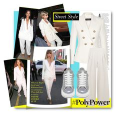 """""""#PolyPower - Power Outfit / White Suit As Seen on Rihanna &Taylor Swift"""" by nikkisg ❤ liked on Polyvore featuring Balmain, Alexander McQueen, taylorswift, Rihanna and PolyPower"""