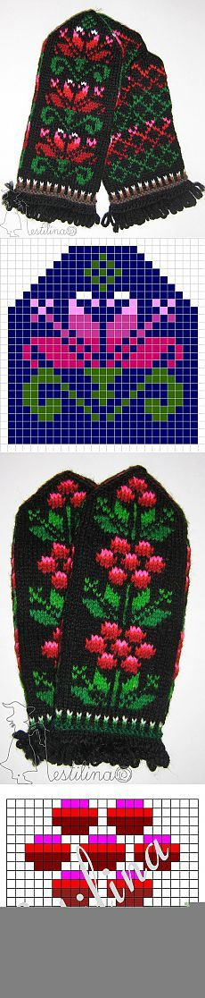 Inspiration for mittens Double Knitting Patterns, Knitted Mittens Pattern, Fair Isle Knitting Patterns, Knit Mittens, Knitting Charts, Knitted Gloves, Knitting Socks, Knitting Stitches, Free Knitting