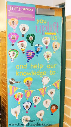 """You uplift us and help our knowledge to soar"" teacher door - teacher appreciation"