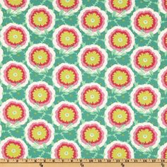 Amy Butler Soul Blossoms Joy Buttercups Spearmint from @fabricdotcom  Designed by Amy Butler for Westminster Fabrics, this cotton print fabric is perfect for quilt or craft projects, apparel and home décor accents.
