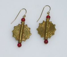 Unique Gold and Red handmade African Art earrings by FLauraChristine, $36.00 #african beads