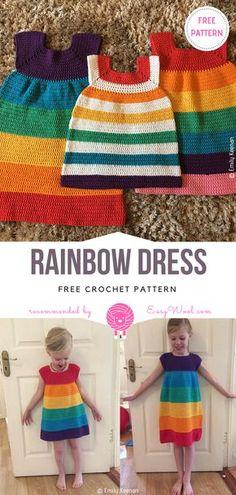 Rainbow Dress Free Crochet Pattern on easywool.com Crochet Girls, Crochet Bebe, Crochet Baby Clothes, Crochet For Kids, Free Crochet, Knit Crochet, Knitting For Kids, Baby Knitting, Crochet Stitches