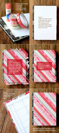 It's Mon-DIY! A quick washi tape school supplies crafts tutorial Washi Tape Notebook, Diy Notebook, Washi Tape Crafts, Paper Crafts, Diy Crafts, Washi Tapes, Tapas, Cinta Washi, Decorative Tape