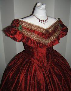 civil war ball gown bodice | 1860's Burgundy Silk Ballgown