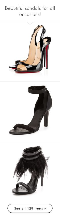 """""""Beautiful sandals for all occasions!"""" by aidasusisilva ❤ liked on Polyvore featuring sandals, shoes, heels, christian louboutin, louboutin, black, black patent leather sandals, black patent leather slingbacks, high heel sandals and high heel stilettos"""