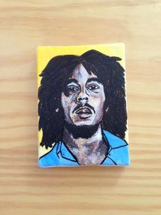 "Small Hand Painted Bob Marley Original Portrait Painting on Canvas - 2"" x 3""StellaAndEllieShop"