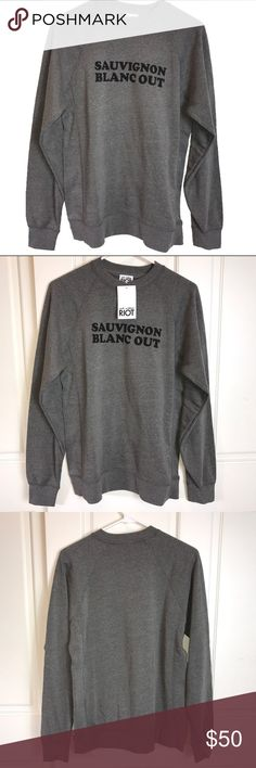"""NWT - Sub-Urban Riot Sauvignon Blanc Out Feed your wine addiction further with this chic sweatshirt by sub-urban RIOT! The inside of this gray """"Sauvignon Blanc Out"""" sweatshirt is so soft, you'll never take it off! Brand new with tags and size Small. sub-urban RIOT Tops Sweatshirts & Hoodies"""