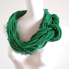 Emerald Green Infinity Scarf Silver Metalic Stripes Upcycled Clothing Kelly Green Circle Scarf Winter Accessories St. Patricks Day. $65.00, via Etsy.