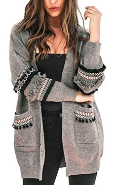 62512dafa2e New ECOWISH Womens Casual Light Weight Open Front Long Sleeve Boho Knit  Sweater Cardigan With Pockets