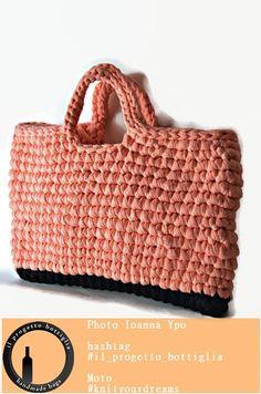Top handle crocheted bag Tshirt yarn tote bag Elegant bag