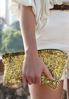 Sequins Gold Clutch