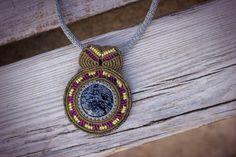 Sweet circle mandala macrame necklace with snowflake by gimacrame