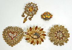 LOT OF 5 ESTATE JEWELRY BROOCHES