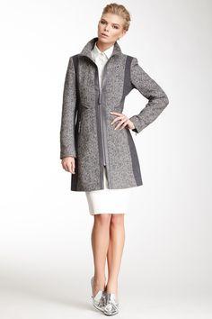 Faux Leather Trim Two-Tone Tweed Coat  Women #Outerwear