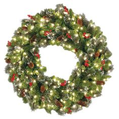 national tree 24 crestwood spruce wreath with 160 ranch ips 50 clear lights find this pin and more on battery operated christmas - Pre Lit Christmas Wreaths Battery Operated