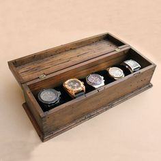 Watch Box Watch Case Mens Watch Box Watch Box for Men Wood Watch Box Watch Display Personalized Gift Custom Watch Box for 5 watches Wooden Watch Box, Wood Watch, Mens Valet, Gift Box For Men, Licht Box, Mens Watch Box, Watch Cases For Men, Watch Storage, Watch Display Case