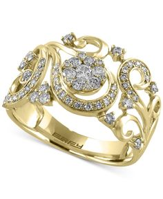Effy Final Call Diamond Filigree Floral Ring (1/2 ct. t.w.) in 14k Gold
