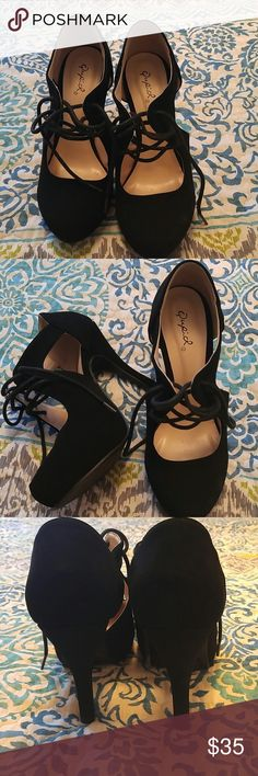 """Qupid. Lace up, 4"""" heels. Cute lace up, black heels. Only worn once, never worn outside. 4"""" heel. Great for work or a night out. All man made materials. Qupid Shoes Heels"""