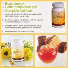 BEE POLLEN - Pollen is the male fertilizing component of plant reproduction. Bees gather and bring it back to their hives for food. Without pollen, plants, trees, and flowers could not exist; Forever Living Aloe Vera, Forever Aloe, Vitamins To Boost Metabolism, Healthy Life, Healthy Living, Forever Living Business, Chocolate Slim, Vitamin B Complex, Complete Nutrition