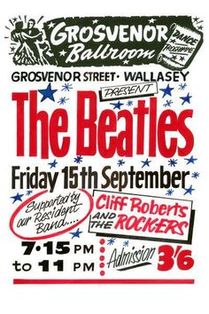 The Beatles Concert Poster Grosvenor Ballroom Print Vintage Concert Memorabilia Gift The Beatles History, The Beatles Live, Beatles Poster, Poster Boys, Pop Posters, Music Posters, Vintage Concert Posters, Vintage Posters, Beatles Gifts